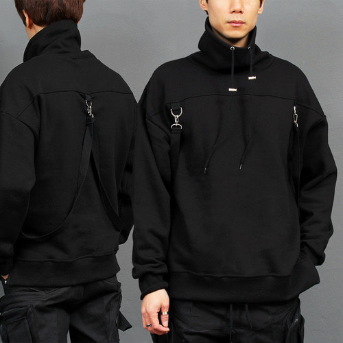 High Turtle Neck Webbing Strap Buckle Sweatshirt