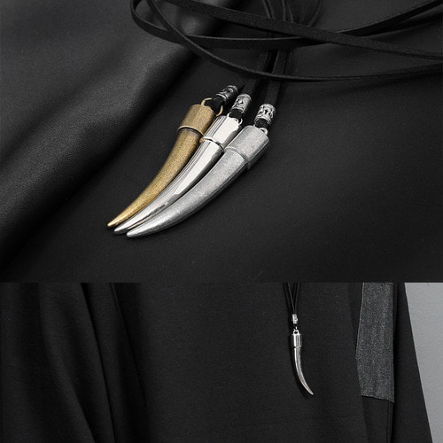 Tusk Shaped Steel Pendant Leather Strap Necklace N86