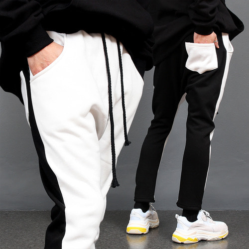 Contrast Black White Drop Crotch Baggy Sweatpants
