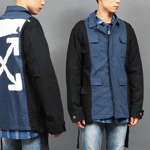 Logo Painting Flap Pocket Contrast Color Jacket