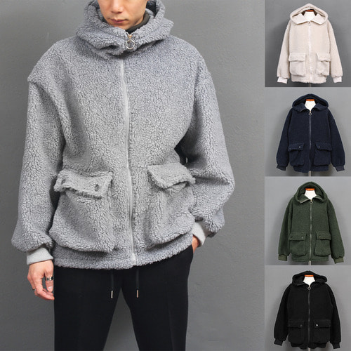Loose Fit Fluffy Fleece Pocket High Neck Zip Up Hoodie