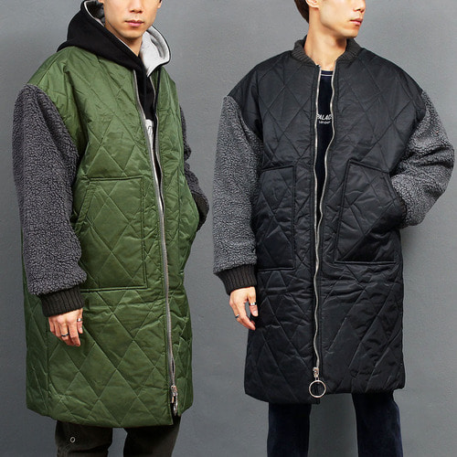 Quilted Cotton Insulation Fluffy Sleeve Long Coat