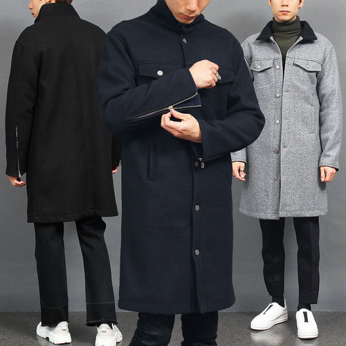 Fleece Lining Button Up Zippered Cuffs Wool Long Coat
