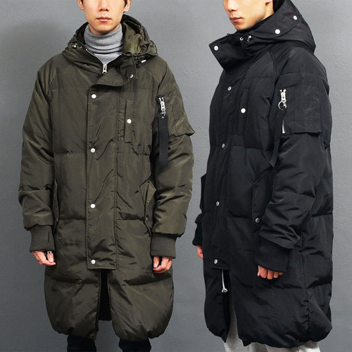 Loose Fit Hood Long Puffa Duck Down Parka