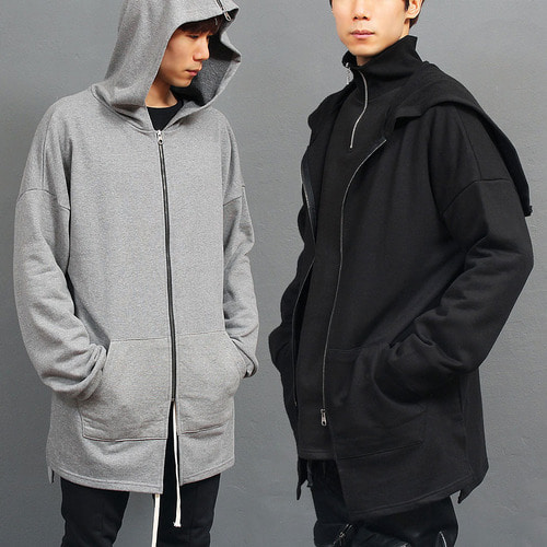 Zippered Split Hood Zip Up Split Side Long Hoodie