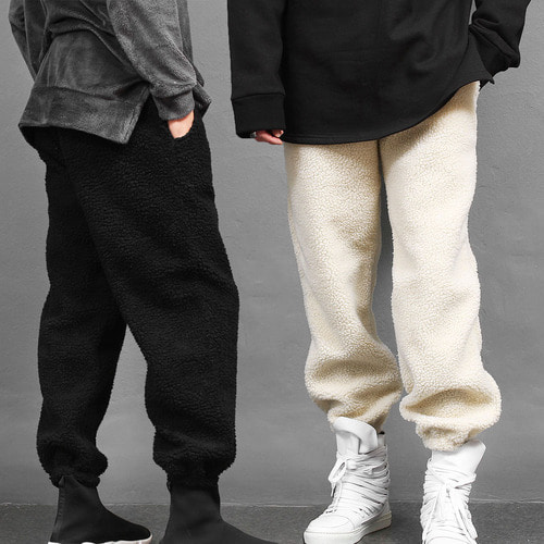 Synthetic Lamb Fur Fluffy Fleece Sweatpants