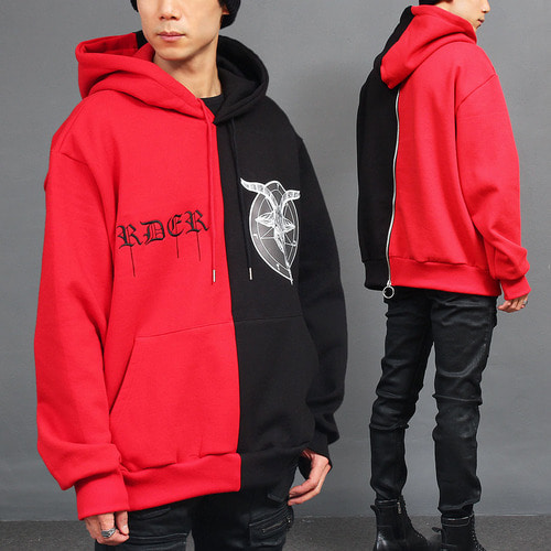 Contrast Half Color Logo Interior Fleece Back Zip Up Hoodie
