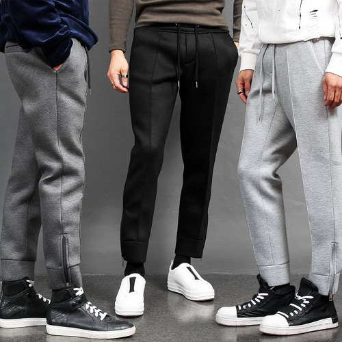 Slim Fit Neoprene Zippered Hem Sweatpants