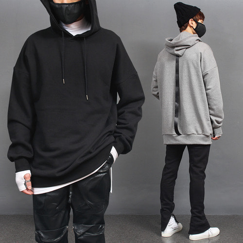 Loose Fit Back Webbing Strap Long Boxy Hoodie