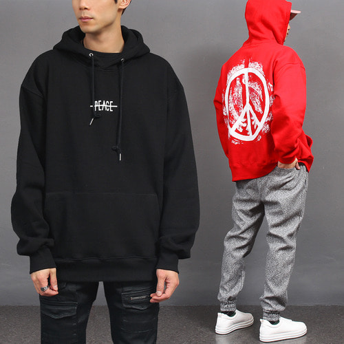 Peace Logo Printing Big Pocket Interior Fleece Boxy Hoodie