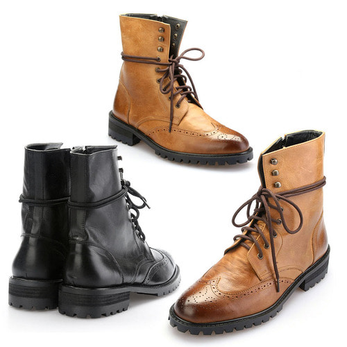 High top Leather Wingtip Brogue Boots Handmade 5065