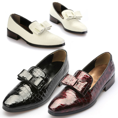 Ribbon Styling Crocodile Skin Pattern Leather Handmade Loafers 5075