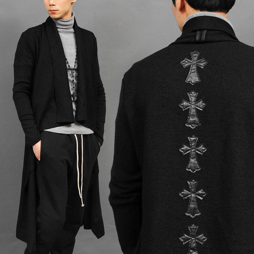 Gothic Cross Patch Symmetric Draped Shawl Long Cardigan