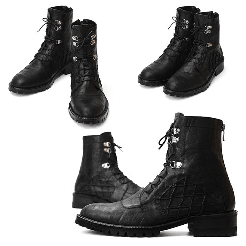 Handmade Leather Elephant Skin Pattern Back Zipper Boots 4857