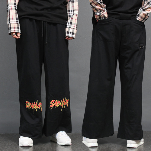 Graphic Printing Logo Elastic Waistband Wide Slacks Pants