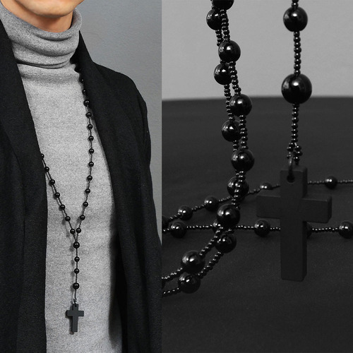 Opera Type Black Beads Cross Pendant Necklace N90
