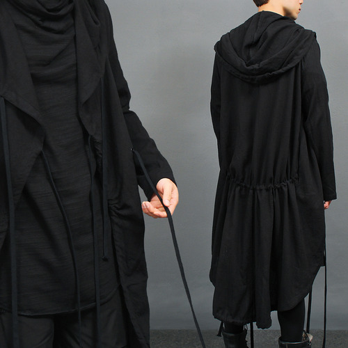 Gothic Over Long Draw String Long Hood Cardigan