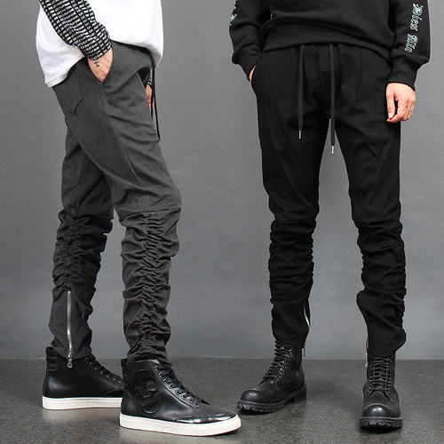 Shirring Wrinkle Zippered Hem Sweatpants