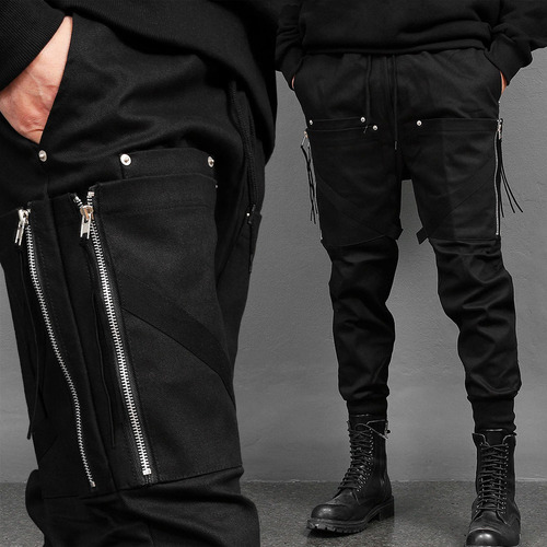 Zipper Big Cargo Pocket Semi Baggy Joggers 004
