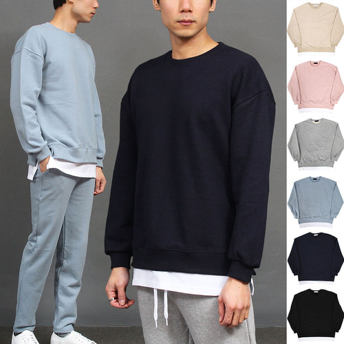 Double Layered Hem Styling Boxy Sweatshirt 005