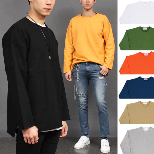 Loose Fit Vintage Trimming Wide Shoulder Color Tee 005