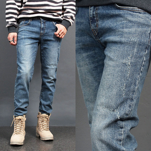 Vintage Distressed Faded Blue Skinny Jeans 009