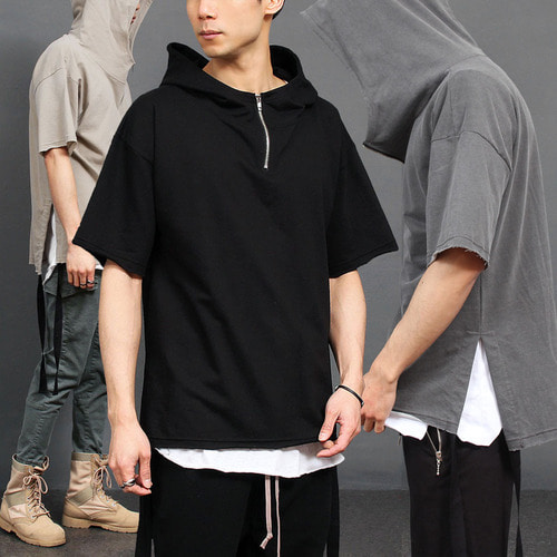 Pigment Washed Split Side Strap Anorak Short Sleeve Hoodie 014