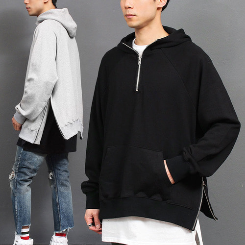 Loose Fit Zipper Split Side Anorak Boxy Hoodie 013