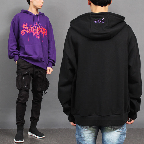 666 Stitched Logo Printing Big Pocket Boxy Hoodie