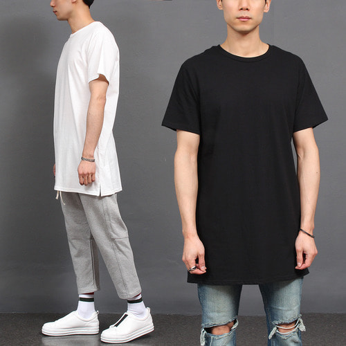 Layered Styling Oversized Long Hem Short Sleeve Tee
