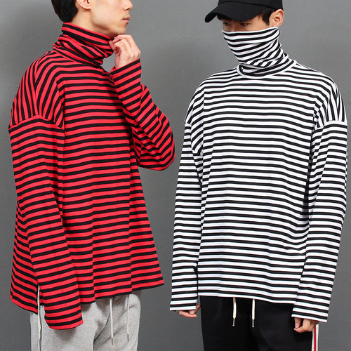 Oversized High Neck Split Side Striped Long Tee 015