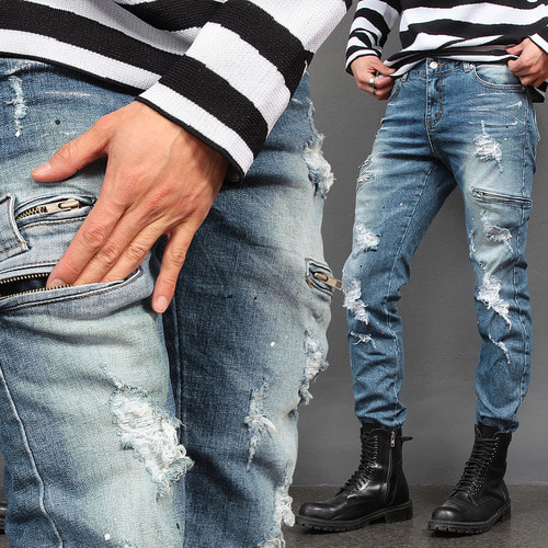 Vintage Distressed Zipper Pocket Slim Biker Jeans