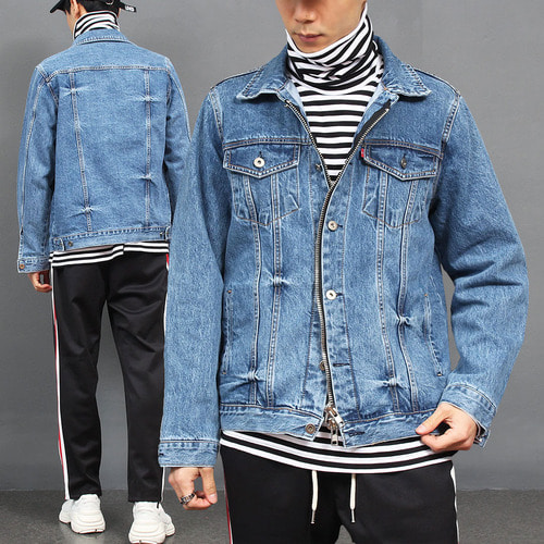 Double Snap Button Zipper Denim Jacket 013