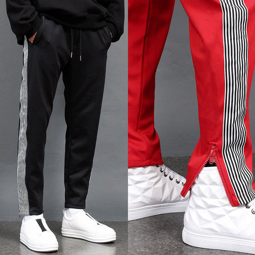 Side Logo Printing Zipper Hem Jersey Slim Sweatpants 029