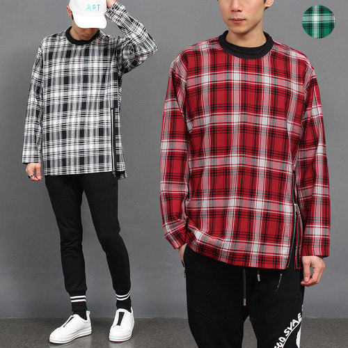 Front Zipper Check Shirt Type Sweatshirt 018