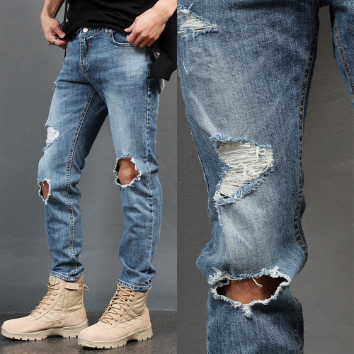 Vintage Destroyed Knee Off Blue Slim Jeans 023