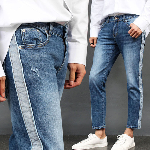 Contrast Side Line Slim Blue Jeans 024
