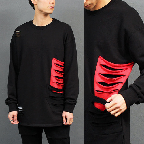 Loose Fit Red Pocket Cutting Boxy Sweatshirt 020