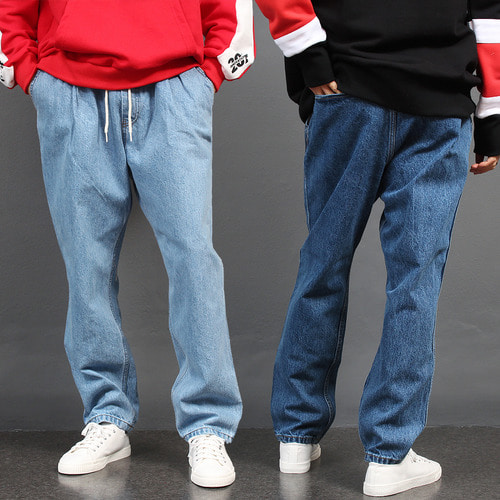 Elasticized Waistband Blue Wide Denim Pants
