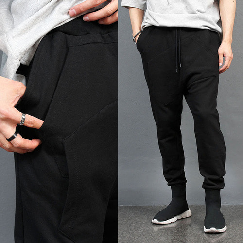 Double Kangaroo Pocket Drop Crotch Baggy Joggers 033