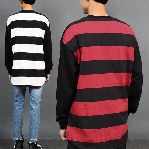 Back Striped Pattern Split Side Boxy Sweatshirt 022