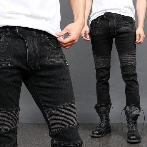 Black Seaming Ribbed Paneling Zipper Pocket Biker Slim Jeans 032