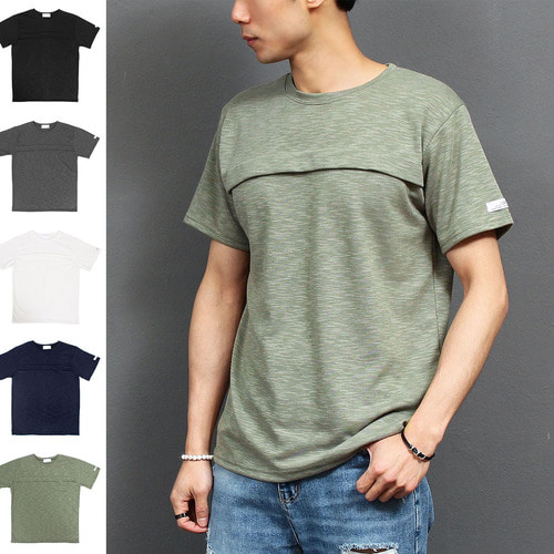 Chest Flap Color Short Sleeve Tee 131