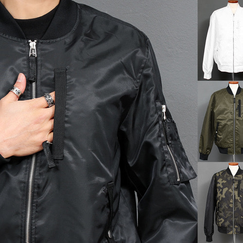 Zipper Pocket Zip Up Bluson Bomber Jacket 017