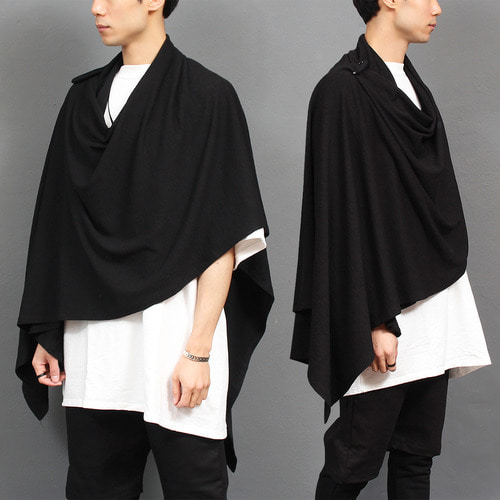 Avant garde Asymmetric One Arm Draped Long Poncho 021