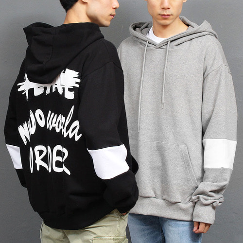 Logo Printing Contrast Sleeve Color Boxy Hoodie 022