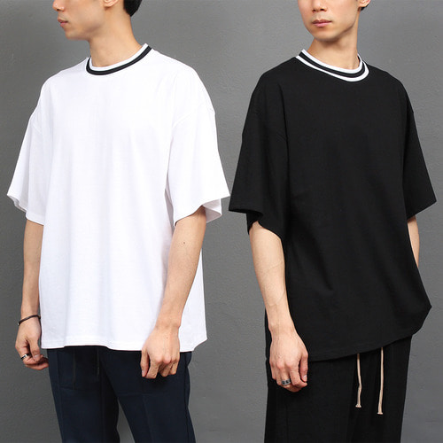 Elasticized Band Crew Neck Boxy Short Sleeve Tee 133