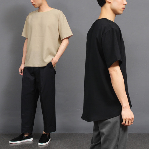 Synthetic Color Linen Short Sleeve Tee 134