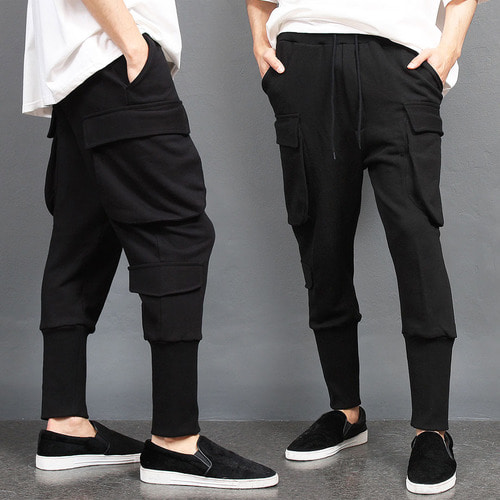 Big Cargo Pocket Low Crotch Long Ribbed Hem Joggers 039