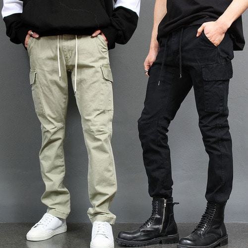 Elastic Waistband Slim Cargo Pocket Pants 007